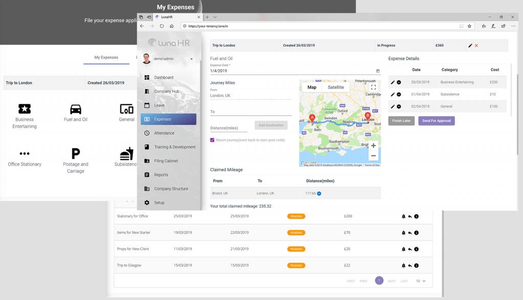 LunaHR HRMS HR Platform Expense Module
